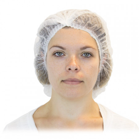 White Pleated Bouffant Hairnet - 21""