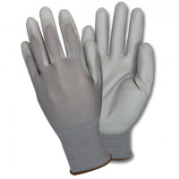 Gray Nylon Glove, w/Gray PU Coating - Large