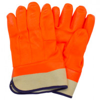 Orange PVC Foam Lined Gloves With Safety Cuff