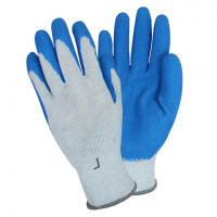Premium Gray Latex Coated Gray String Knit Gloves - Large