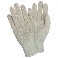 Beige Knit Poly/Cotton Gloves - Large