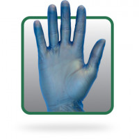 Powdered Blue Vinyl Gloves - Large